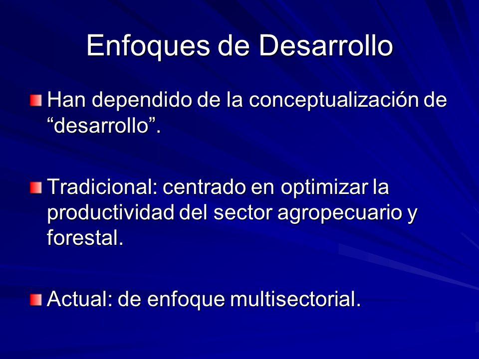 Enfoques de Desarrollo Han dependido de la conceptualización de desarrollo. Tradicional: centrado en optimizar la productividad del sector agropecuari
