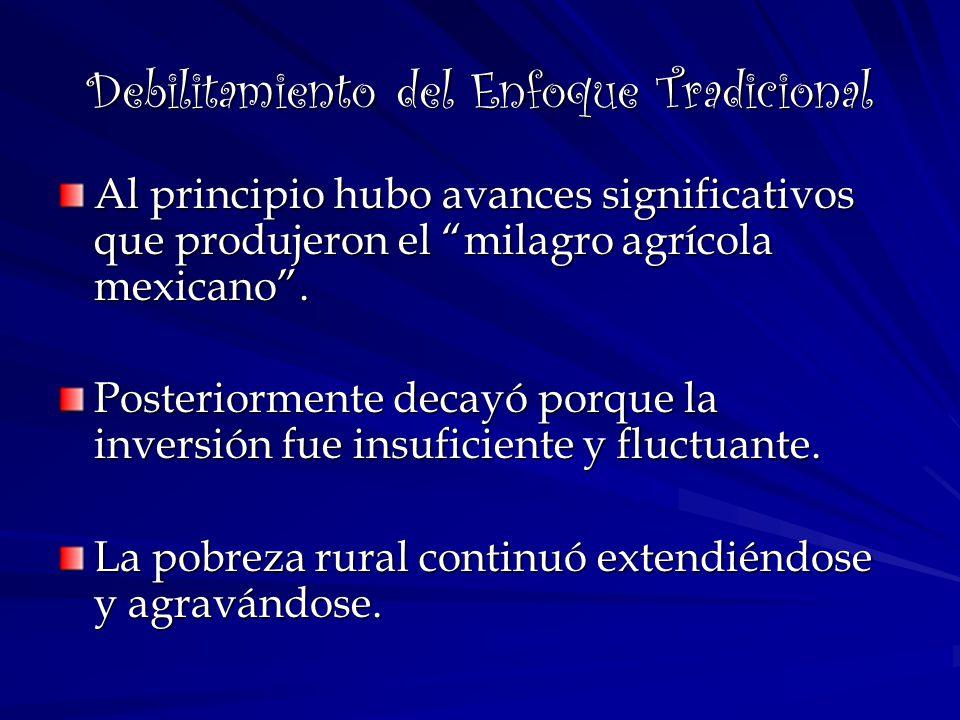Debilitamiento del Enfoque Tradicional Al principio hubo avances significativos que produjeron el milagro agrícola mexicano. Posteriormente decayó por