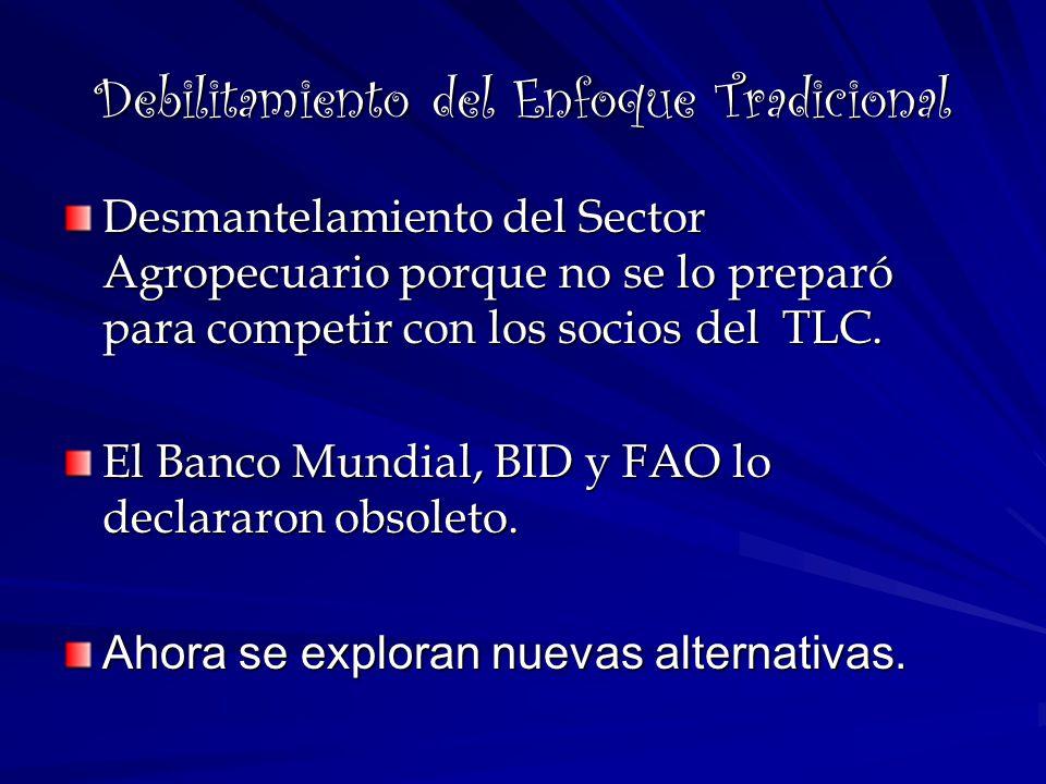 Debilitamiento del Enfoque Tradicional Desmantelamiento del Sector Agropecuario porque no se lo preparó para competir con los socios del TLC. El Banco