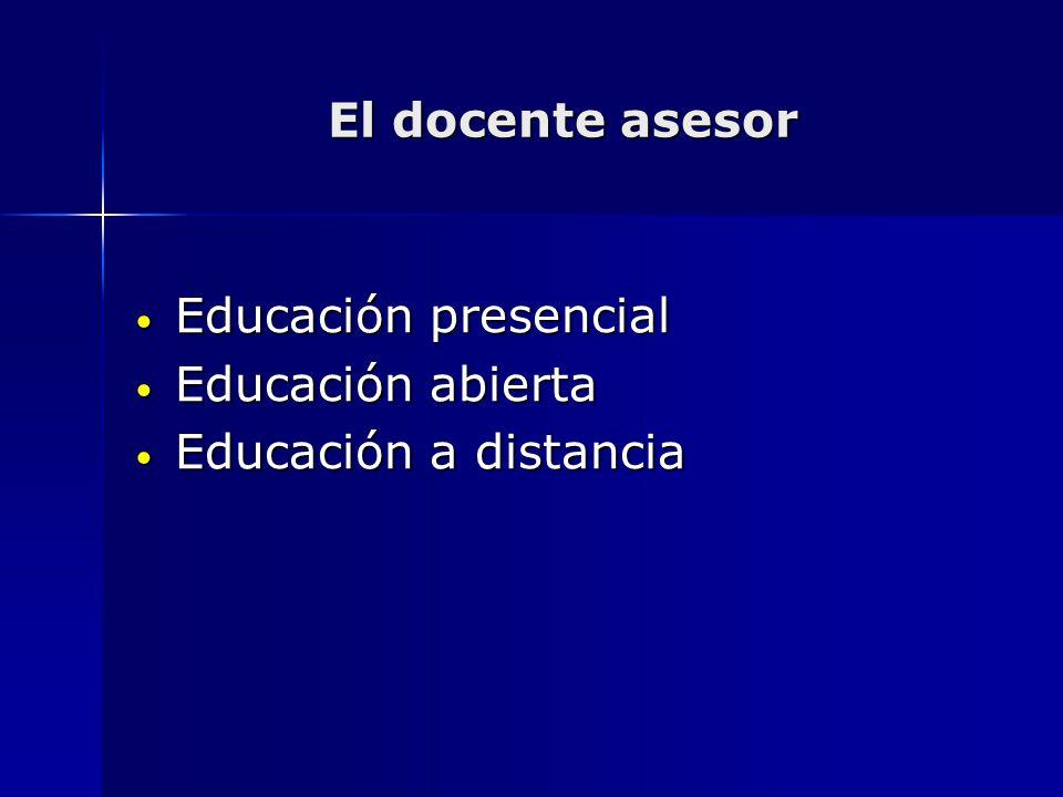 El docente asesor Educación presencial Educación presencial Educación abierta Educación abierta Educación a distancia Educación a distancia