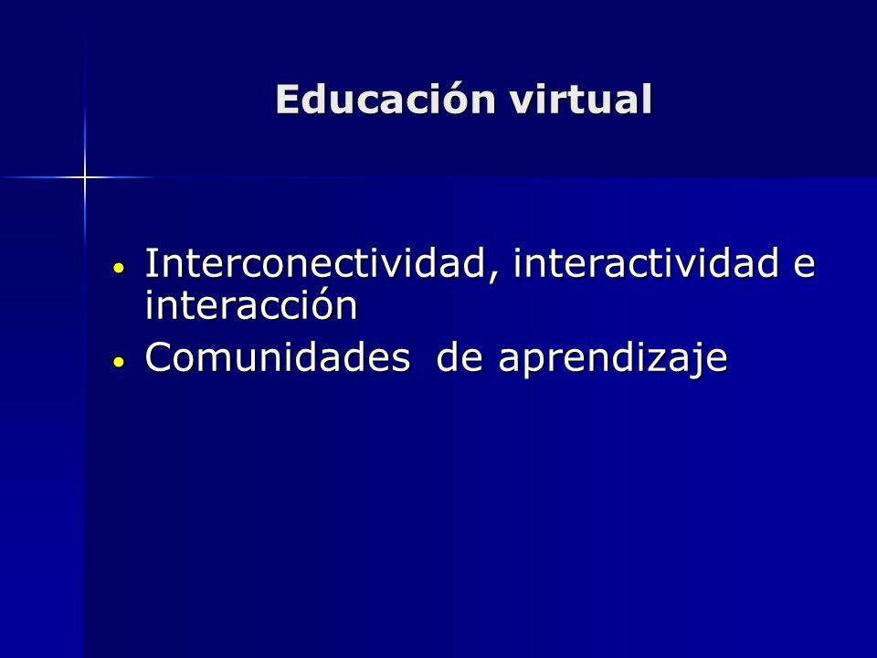 Educación virtual Interconectividad, interactividad e interacción Interconectividad, interactividad e interacción Comunidades de aprendizaje Comunidad