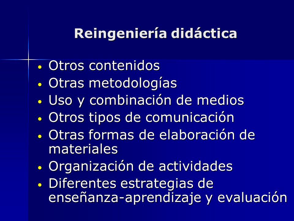 Reingeniería didáctica Otros contenidos Otros contenidos Otras metodologías Otras metodologías Uso y combinación de medios Uso y combinación de medios
