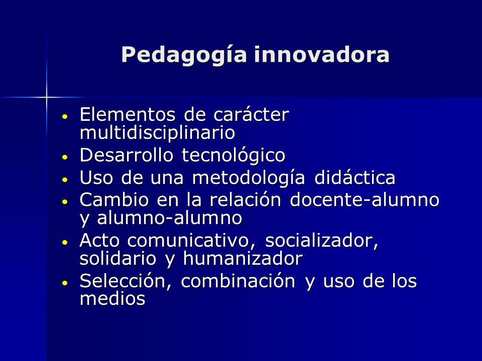 Pedagogía innovadora Elementos de carácter multidisciplinario Elementos de carácter multidisciplinario Desarrollo tecnológico Desarrollo tecnológico U