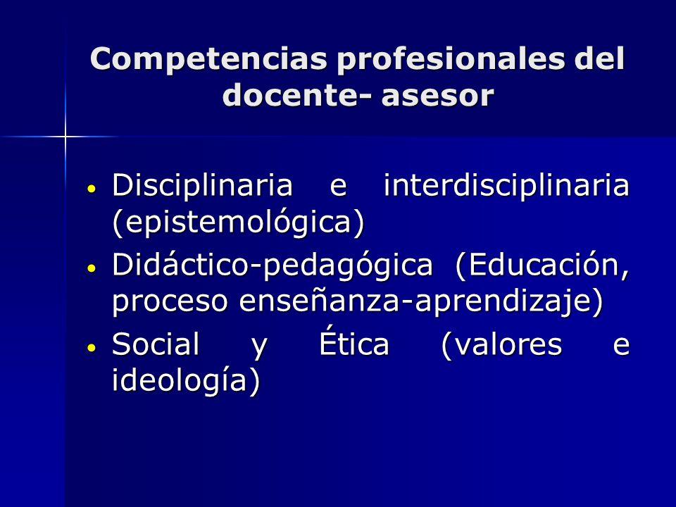 Competencias profesionales del docente- asesor Disciplinaria e interdisciplinaria (epistemológica) Disciplinaria e interdisciplinaria (epistemológica)
