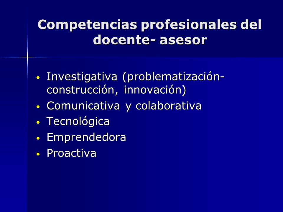 Competencias profesionales del docente- asesor Investigativa (problematización- construcción, innovación) Investigativa (problematización- construcció