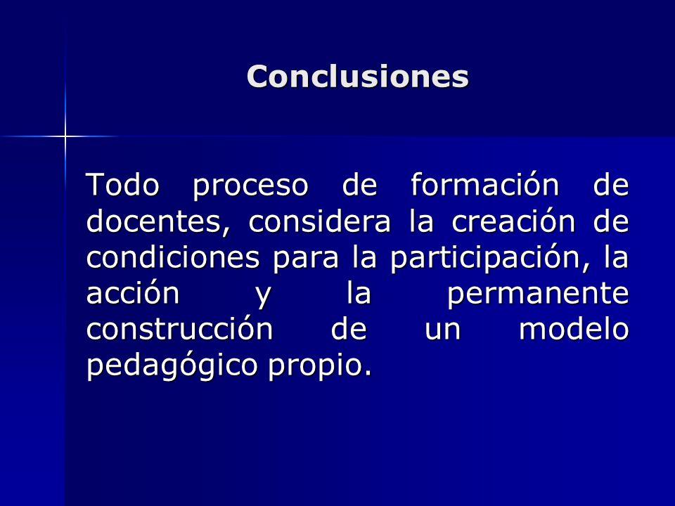 Conclusiones Todo proceso de formación de docentes, considera la creación de condiciones para la participación, la acción y la permanente construcción