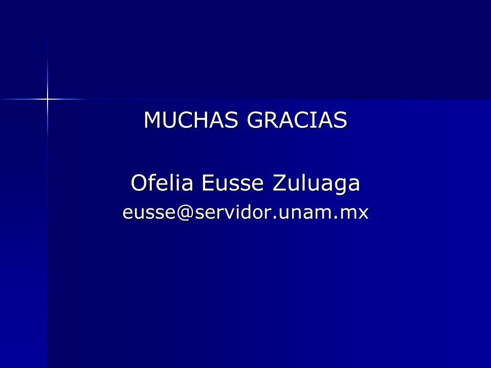 MUCHAS GRACIAS Ofelia Eusse Zuluaga eusse@servidor.unam.mx