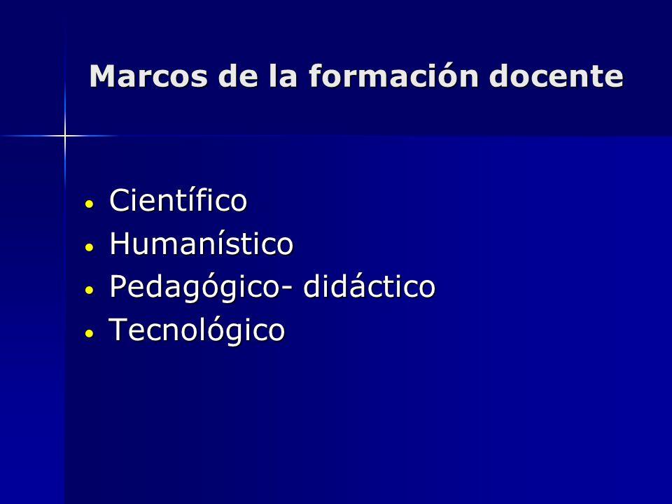 Marcos de la formación docente Científico Científico Humanístico Humanístico Pedagógico- didáctico Pedagógico- didáctico Tecnológico Tecnológico