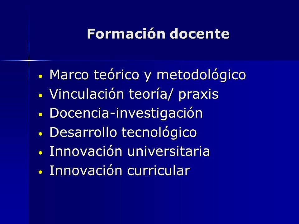 Formación docente Marco teórico y metodológico Marco teórico y metodológico Vinculación teoría/ praxis Vinculación teoría/ praxis Docencia-investigaci