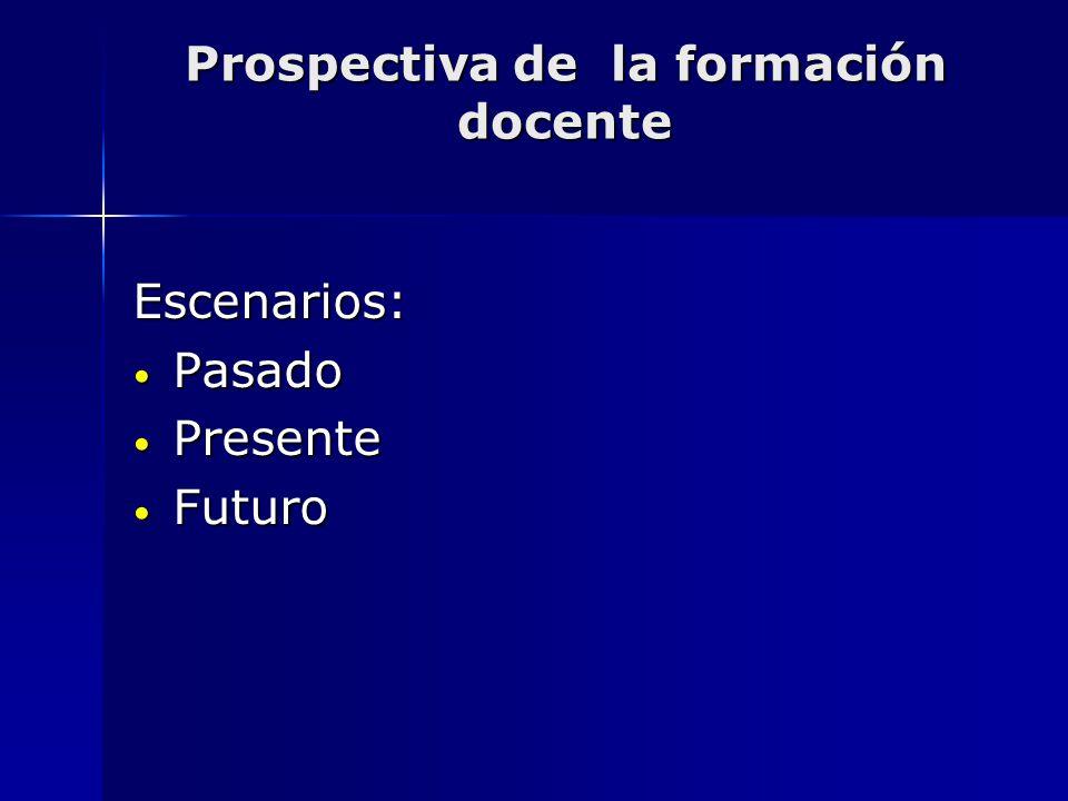 Prospectiva de la formación docente Escenarios: Pasado Pasado Presente Presente Futuro Futuro