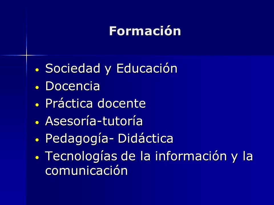 Formación Sociedad y Educación Sociedad y Educación Docencia Docencia Práctica docente Práctica docente Asesoría-tutoría Asesoría-tutoría Pedagogía- D