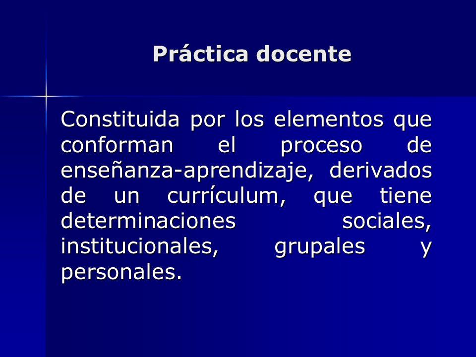 Práctica docente Constituida por los elementos que conforman el proceso de enseñanza-aprendizaje, derivados de un currículum, que tiene determinacione