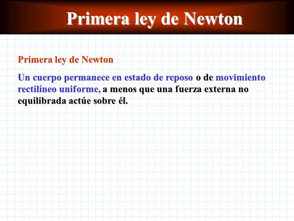 Primera ley de Newton Un cuerpo permanece en estado de reposo o de movimiento rectilíneo uniforme, a menos que una fuerza externa no equilibrada actúe sobre él.