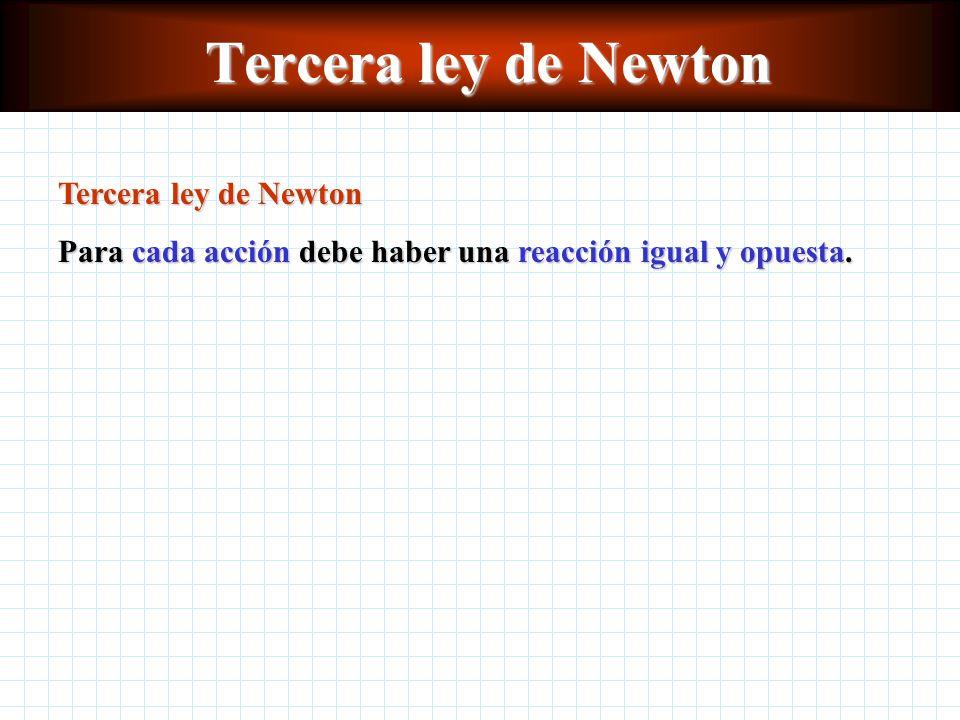 Tercera ley de Newton Para cada acción debe haber una reacción igual y opuesta.
