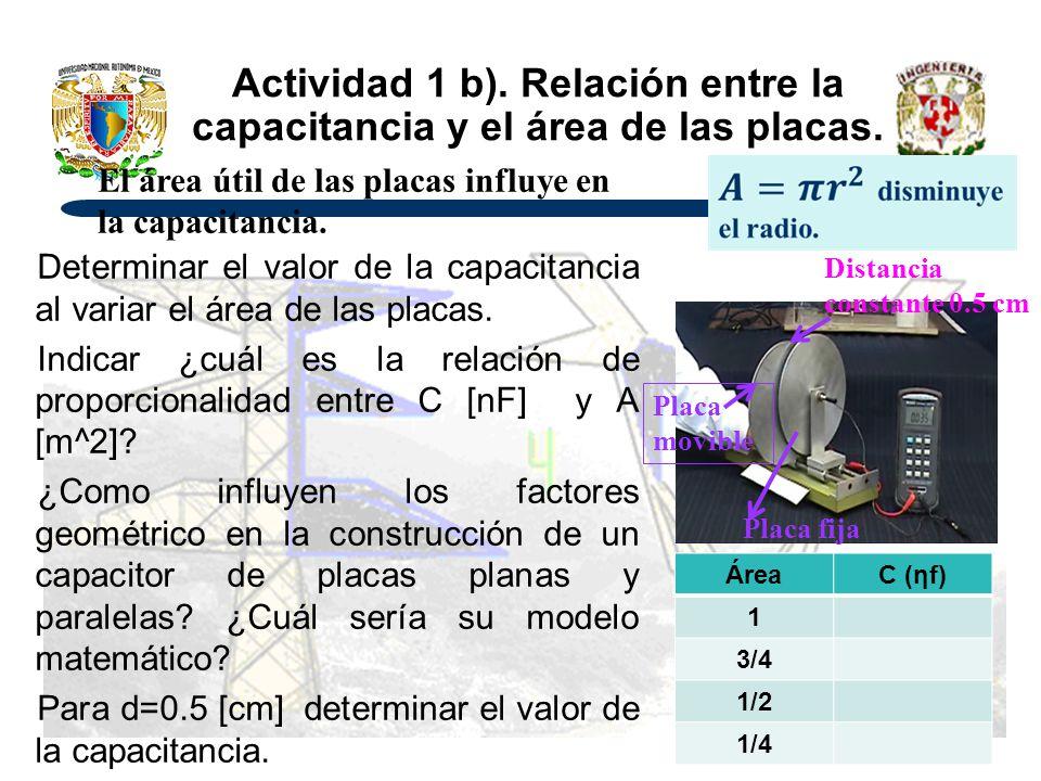 Actividad 1 b). Relación entre la capacitancia y el área de las placas. Determinar el valor de la capacitancia al variar el área de las placas. Indica