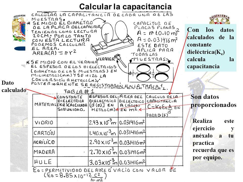 Calcular la capacitancia Con los datos calculados de la constante dieléctrica(K e ) calcula la capacitancia Dato calculado Son datos proporcionados Re