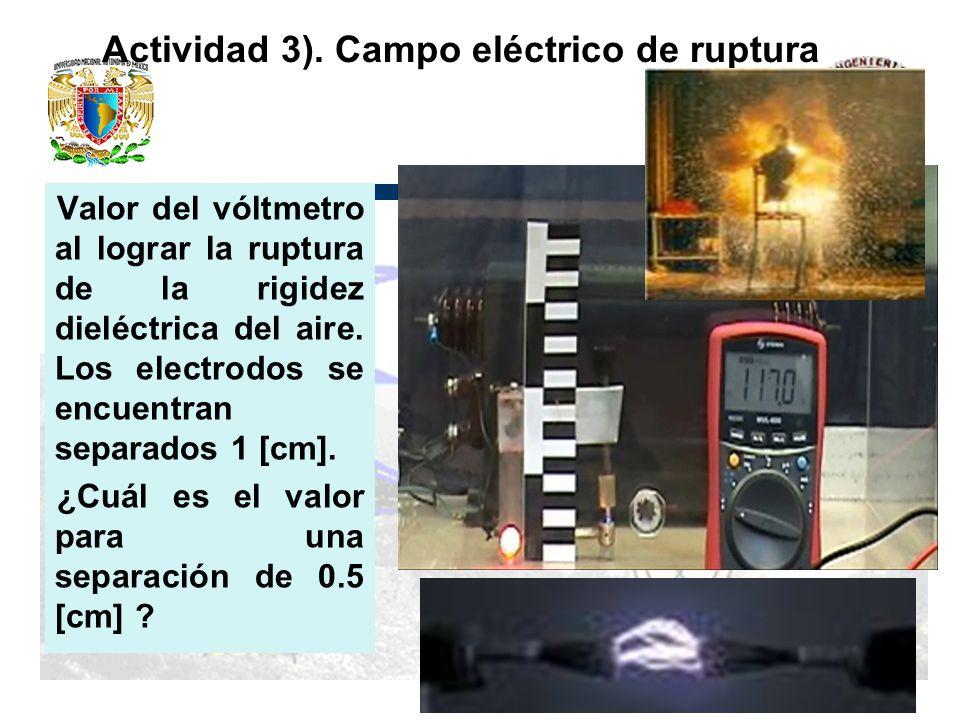 Actividad 3). Campo eléctrico de ruptura Valor del vóltmetro al lograr la ruptura de la rigidez dieléctrica del aire. Los electrodos se encuentran sep