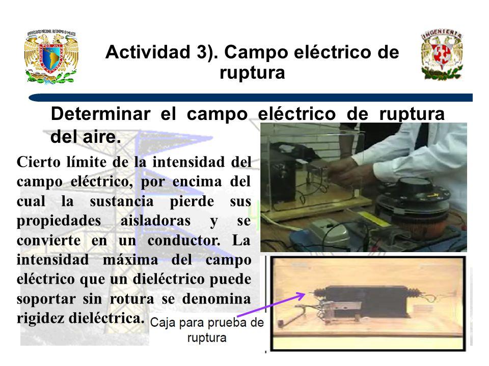 Actividad 3). Campo eléctrico de ruptura Determinar el campo eléctrico de ruptura del aire. Cierto límite de la intensidad del campo eléctrico, por en