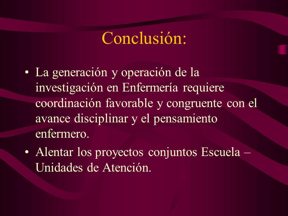 Conclusión: La generación y operación de la investigación en Enfermería requiere coordinación favorable y congruente con el avance disciplinar y el pe