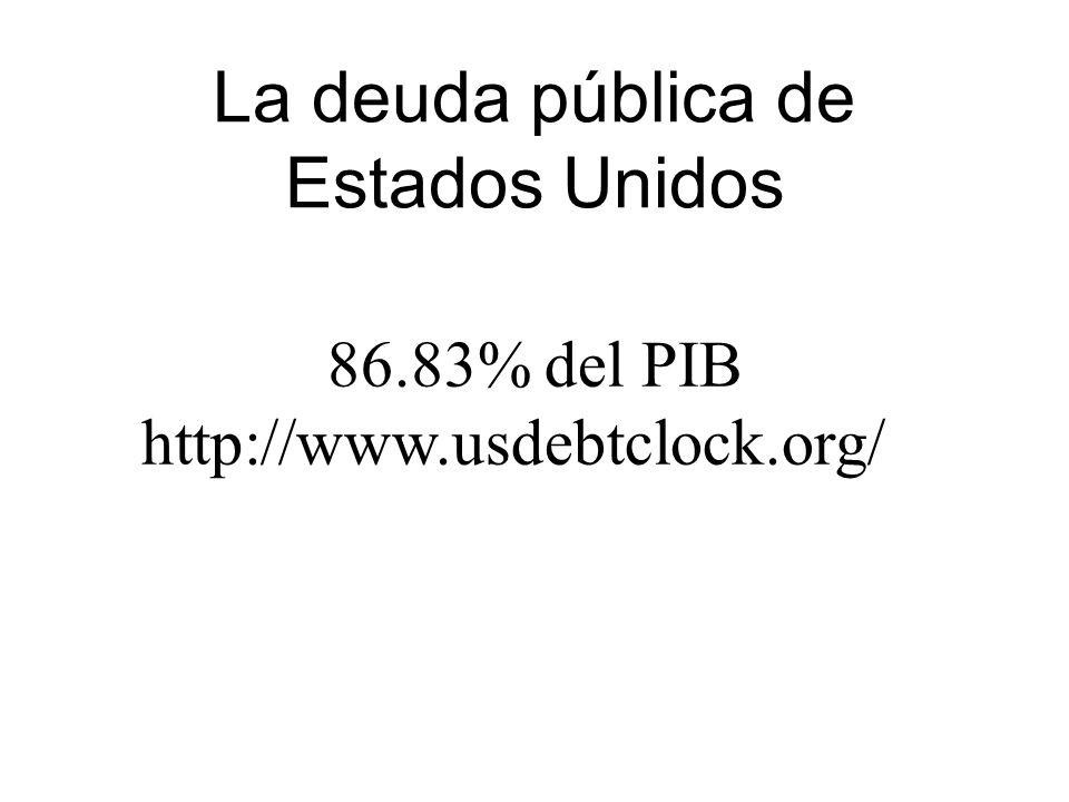 La deuda pública de Estados Unidos 86.83% del PIB http://www.usdebtclock.org/