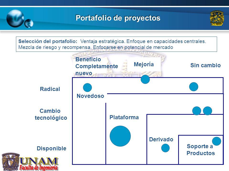 Portafolio de proyectos Derivado Soporte a Productos Cambio tecnológico Disponible Radical Beneficio Completamente nuevo Mejoría Sin cambio Novedoso P