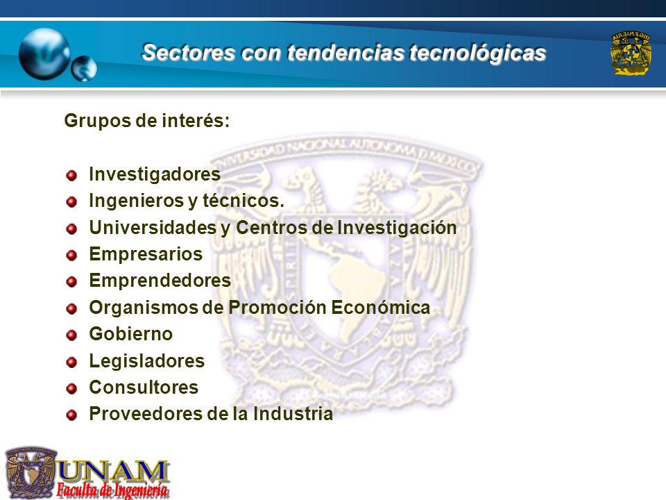 Sectores con tendencias tecnológicas Las tendencias tecnológicas se aplican principalmente en estos sectores: Industria Automotriz Semiconductores Electrónica Aeroespacial Tecnologías de Información (La infotecnología) Biotecnología La nanotecnología (construcción de nanomáquinas)