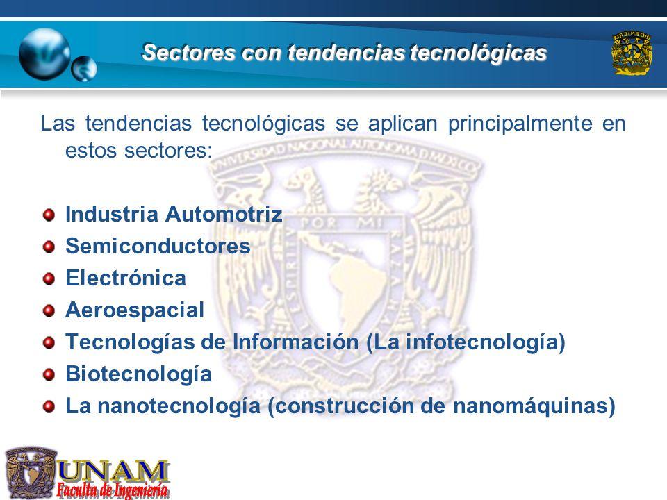 Sectores con tendencias tecnológicas Las tendencias tecnológicas se aplican principalmente en estos sectores: Industria Automotriz Semiconductores Ele