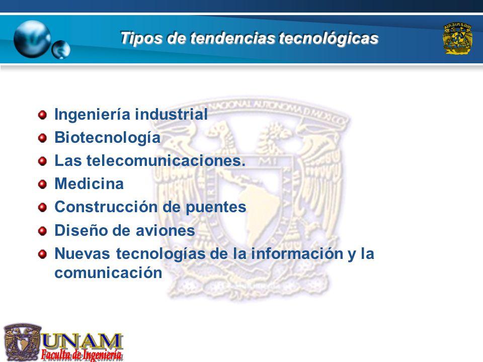 Tipos de tendencias tecnológicas Ingeniería industrial Biotecnología Las telecomunicaciones. Medicina Construcción de puentes Diseño de aviones Nuevas