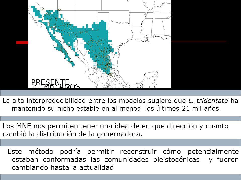 21 MIL AÑOS 6 MIL AÑOS PRESENTE Este método podría permitir reconstruir cómo potencialmente estaban conformadas las comunidades pleistocénicas y fuero