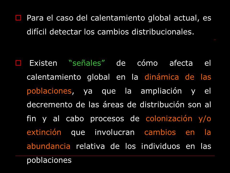 Para el caso del calentamiento global actual, es difícil detectar los cambios distribucionales. Existen señales de cómo afecta el calentamiento global
