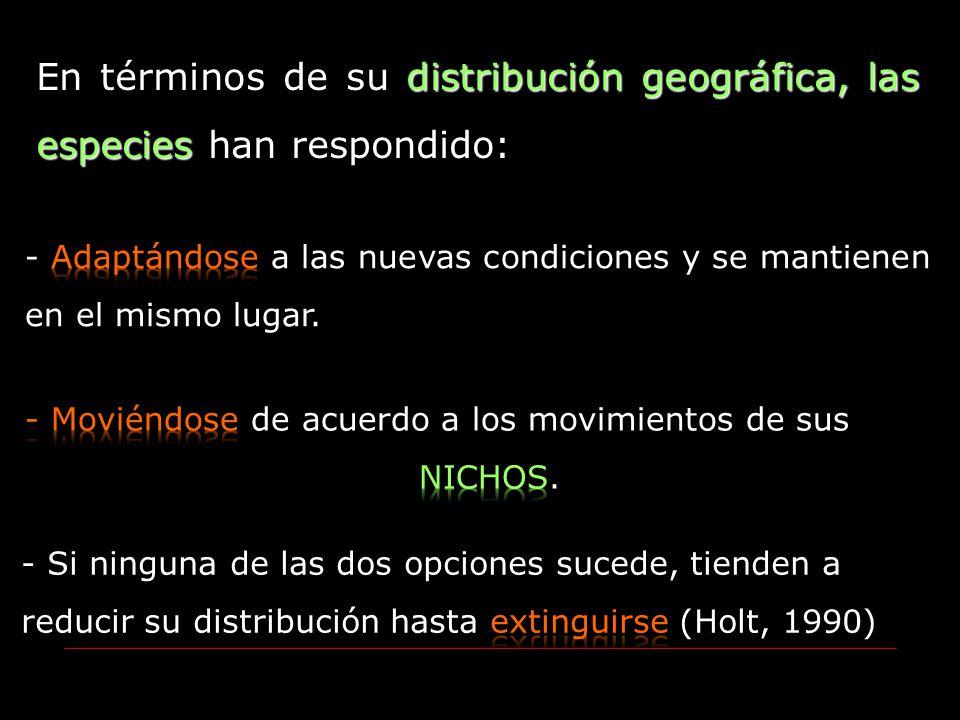 distribución geográfica, las especies En términos de su distribución geográfica, las especies han respondido: