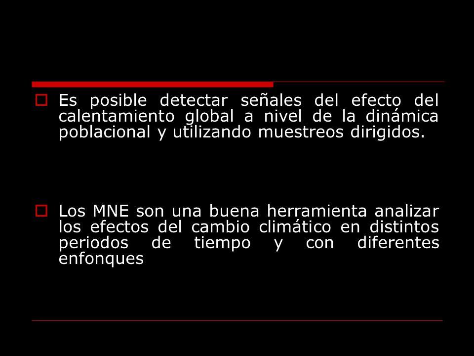 Es posible detectar señales del efecto del calentamiento global a nivel de la dinámica poblacional y utilizando muestreos dirigidos. Los MNE son una b
