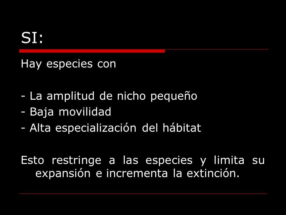 SI: Hay especies con - La amplitud de nicho pequeño - Baja movilidad - Alta especialización del hábitat Esto restringe a las especies y limita su expa