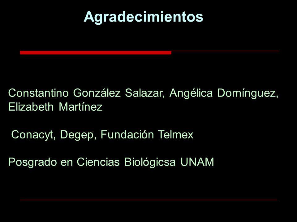 Constantino González Salazar, Angélica Domínguez, Elizabeth Martínez Conacyt, Degep, Fundación Telmex Posgrado en Ciencias Biológicsa UNAM Agradecimie