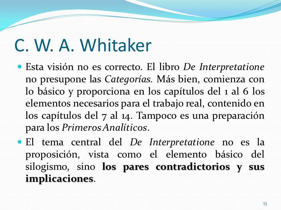 C. W. A. Whitaker Esta visión no es correcto. El libro De Interpretatione no presupone las Categorías. Más bien, comienza con lo básico y proporciona