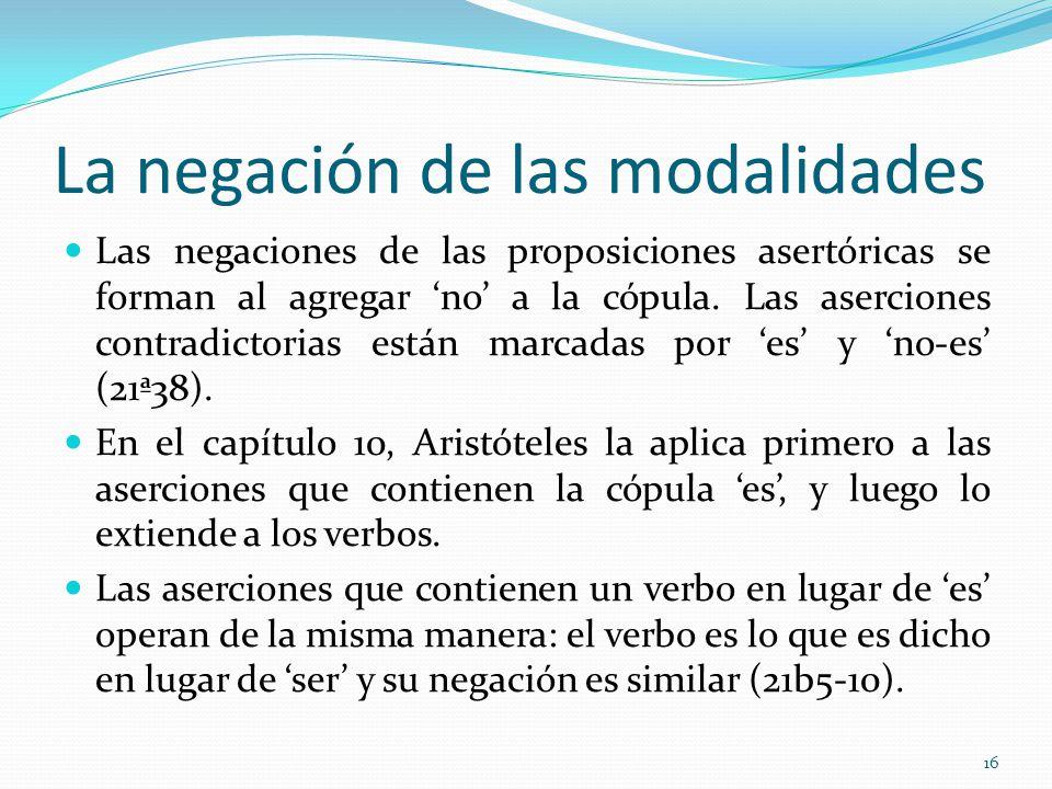 La negación de las modalidades Las negaciones de las proposiciones asertóricas se forman al agregar no a la cópula.