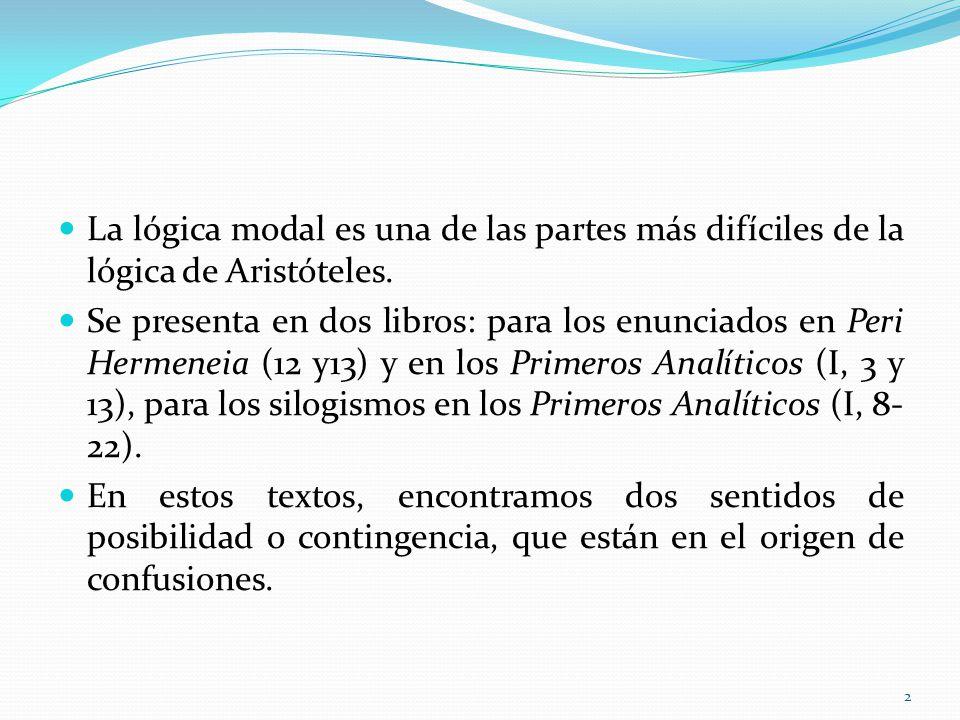 La lógica modal es una de las partes más difíciles de la lógica de Aristóteles. Se presenta en dos libros: para los enunciados en Peri Hermeneia (12 y