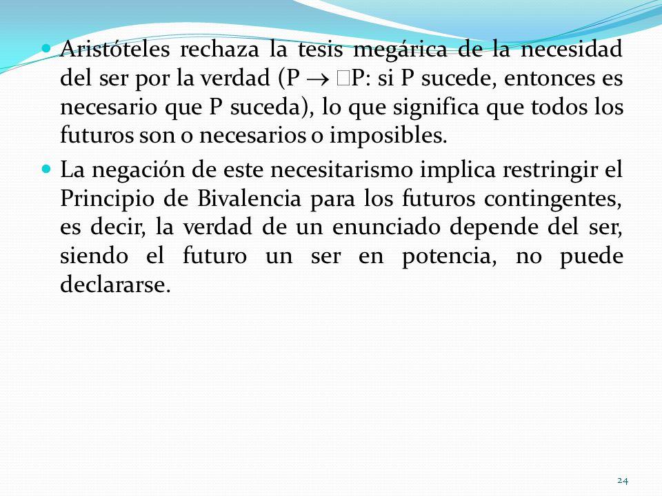 Aristóteles rechaza la tesis megárica de la necesidad del ser por la verdad (P P: si P sucede, entonces es necesario que P suceda), lo que significa q