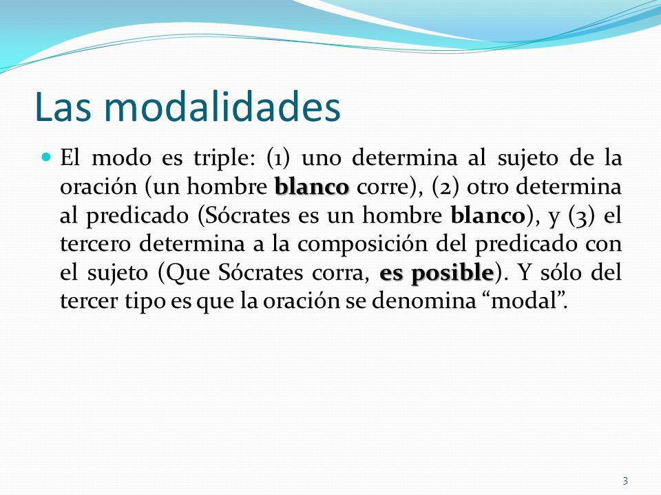 Las modalidades blanco es posible El modo es triple: (1) uno determina al sujeto de la oración (un hombre blanco corre), (2) otro determina al predica