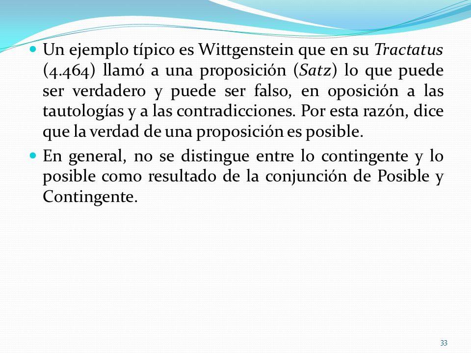 Un ejemplo típico es Wittgenstein que en su Tractatus (4.464) llamó a una proposición (Satz) lo que puede ser verdadero y puede ser falso, en oposició