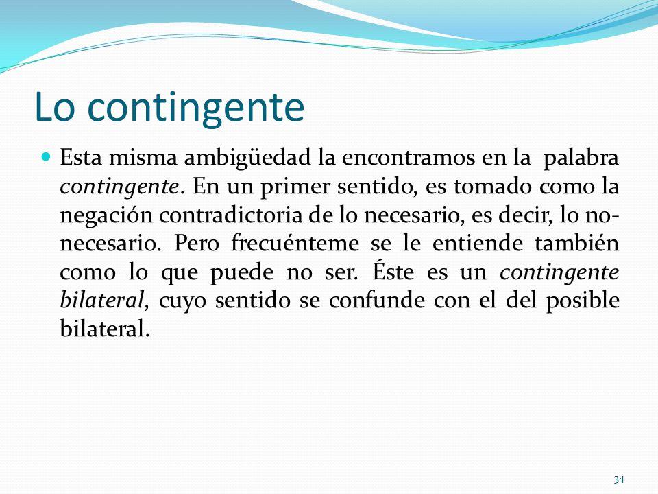 Lo contingente Esta misma ambigüedad la encontramos en la palabra contingente.