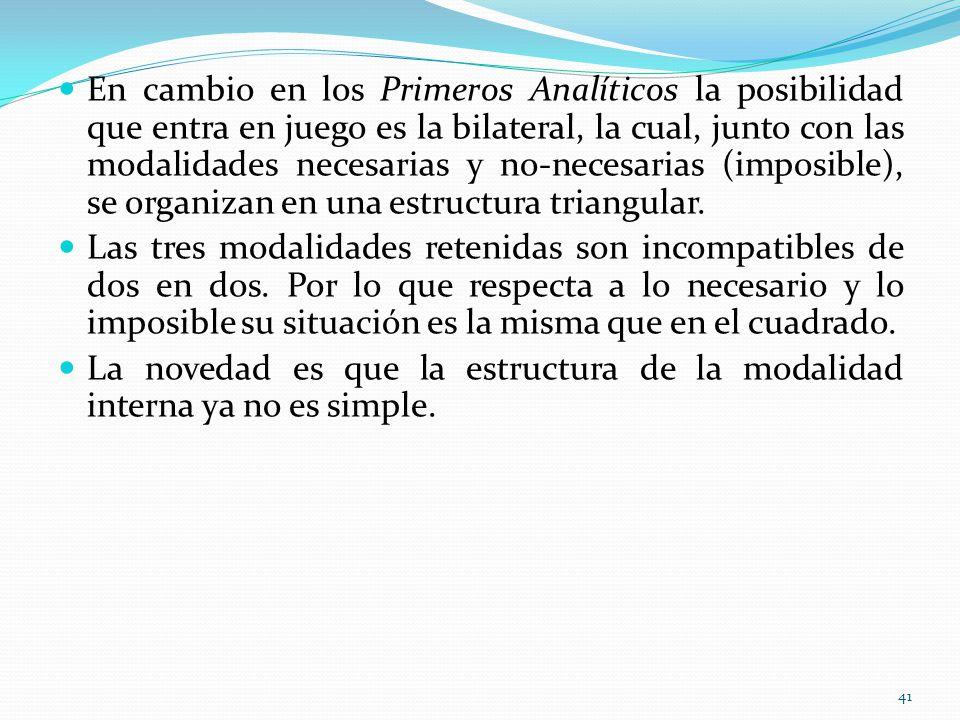En cambio en los Primeros Analíticos la posibilidad que entra en juego es la bilateral, la cual, junto con las modalidades necesarias y no-necesarias