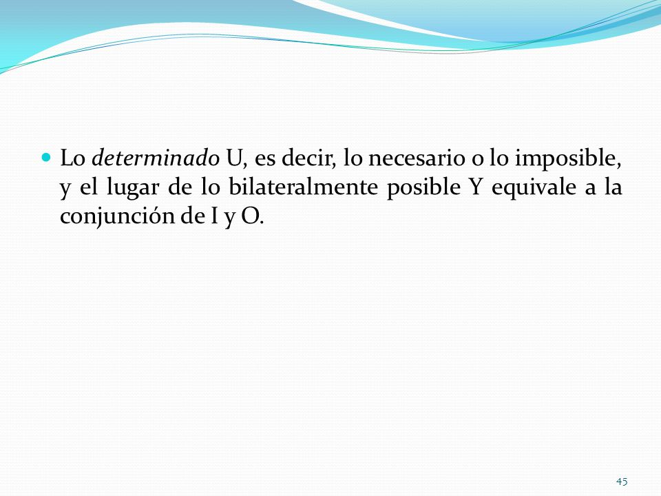 Lo determinado U, es decir, lo necesario o lo imposible, y el lugar de lo bilateralmente posible Y equivale a la conjunción de I y O. 45