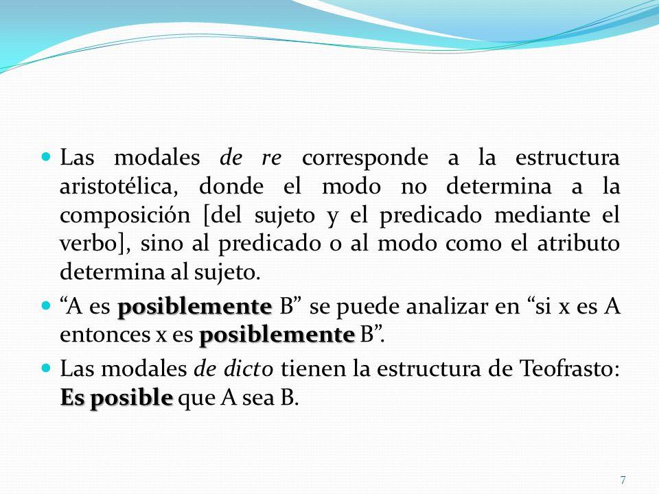Las modales de re corresponde a la estructura aristotélica, donde el modo no determina a la composición [del sujeto y el predicado mediante el verbo],