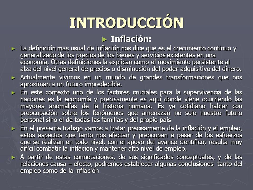 INTRODUCCIÓN Inflación: Inflación: La definición mas usual de inflación nos dice que es el crecimiento continuo y generalizado de los precios de los bienes y servicios existentes en una economía.
