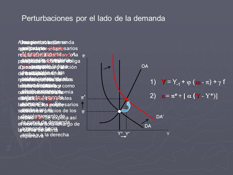 Perturbaciones por el lado de la demanda Y Y* Y OA DA DA Una perturbación positiva por el lado de la demanda desplaza la curva DA hacia arriba y a la derecha, produciéndose de modo simultáneo un movimiento a lo largo de la curva de OA.
