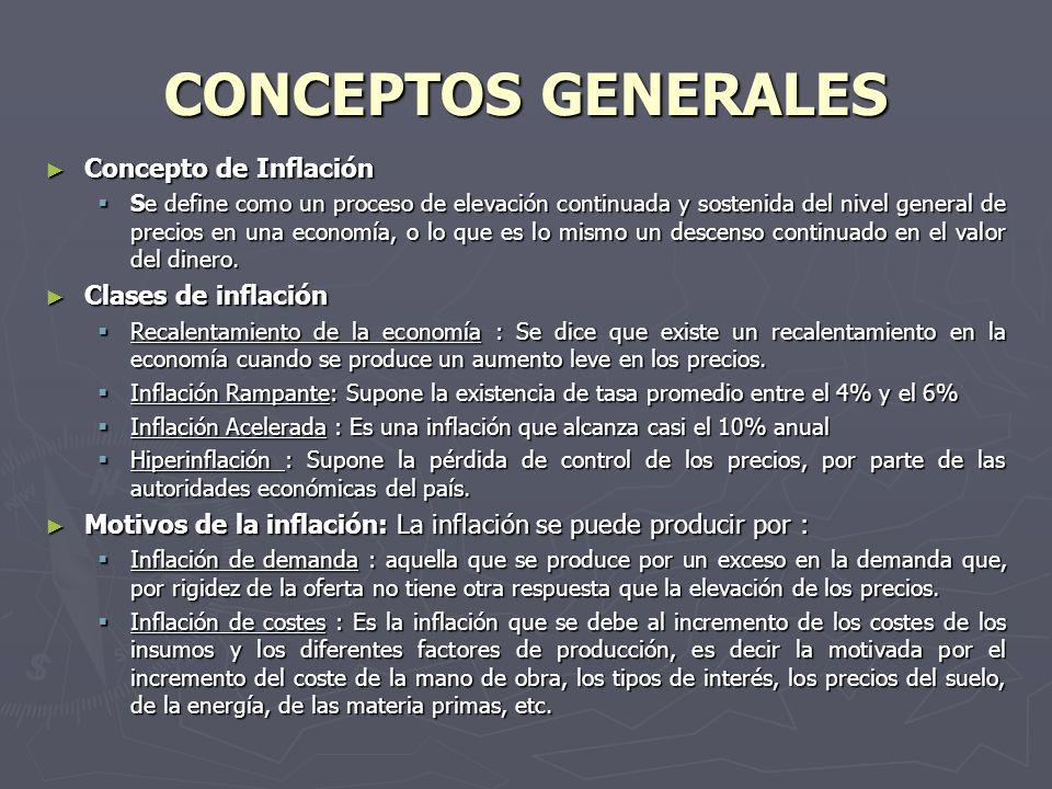 CONCEPTOS GENERALES Concepto de Inflación Concepto de Inflación Se define como un proceso de elevación continuada y sostenida del nivel general de precios en una economía, o lo que es lo mismo un descenso continuado en el valor del dinero.