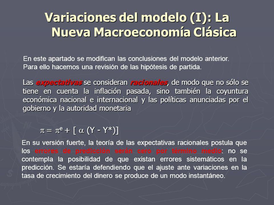 Variaciones del modelo (I): La Nueva Macroeconomía Clásica Las expectativas se consideran racionales, de modo que no sólo se tiene en cuenta la inflación pasada, sino también la coyuntura económica nacional e internacional y las políticas anunciadas por el gobierno y la autoridad monetaria = e + [ (Y - Y*)] = e + [ (Y - Y*)] En este apartado se modifican las conclusiones del modelo anterior.