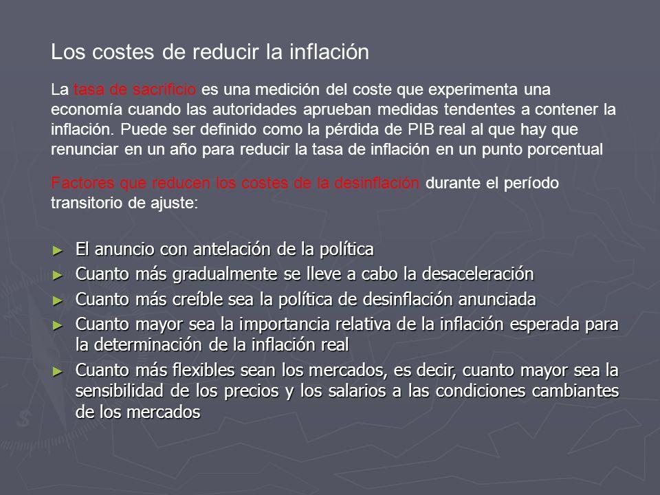 Los costes de reducir la inflación La tasa de sacrificio es una medición del coste que experimenta una economía cuando las autoridades aprueban medidas tendentes a contener la inflación.