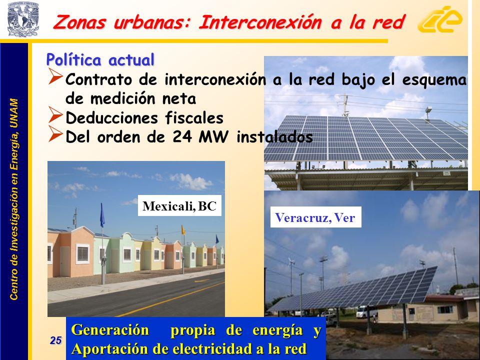 Centro de Investigación en Energía, UNAM Centro de Investigación en Energía, UNAM 25 www.cie.unam.mx Zonas urbanas: Interconexión a la red Mexicali, B